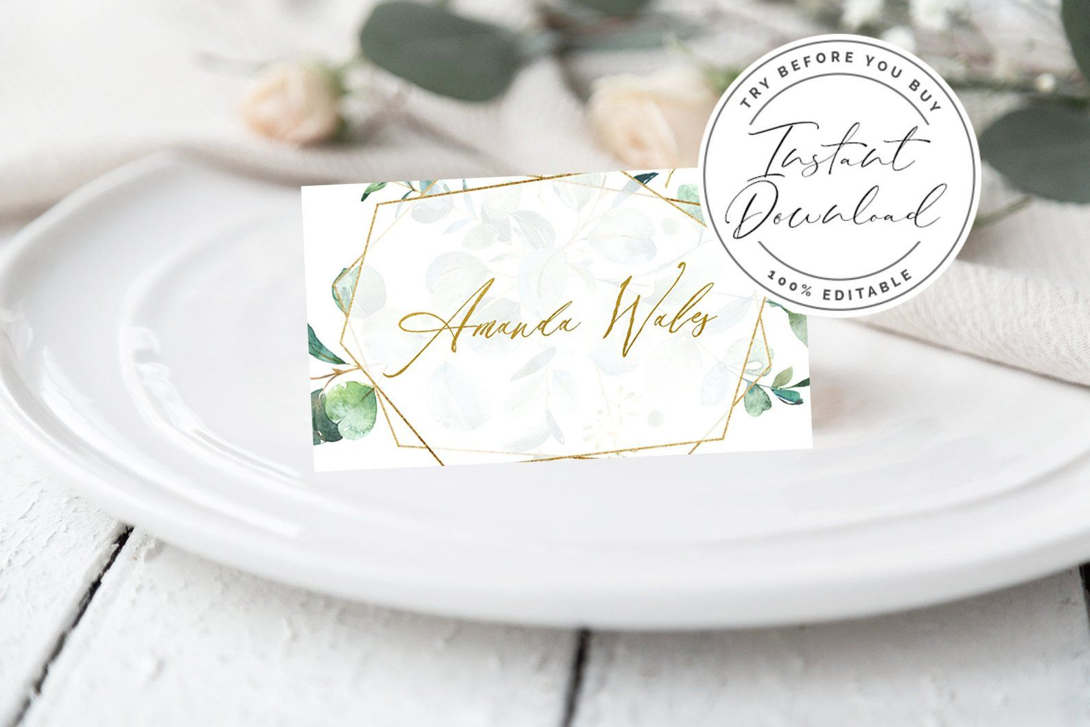 Gold Foil Eucalyptus Printable Wedding Place Cards Template Etsy Printable Place Cards Wedding Wedding Place Card Templates Wedding Printables