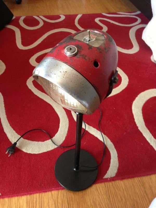 Repurposed Motorcycle Part Lamps With Images Car Part Furniture Diy Lamp Lamp