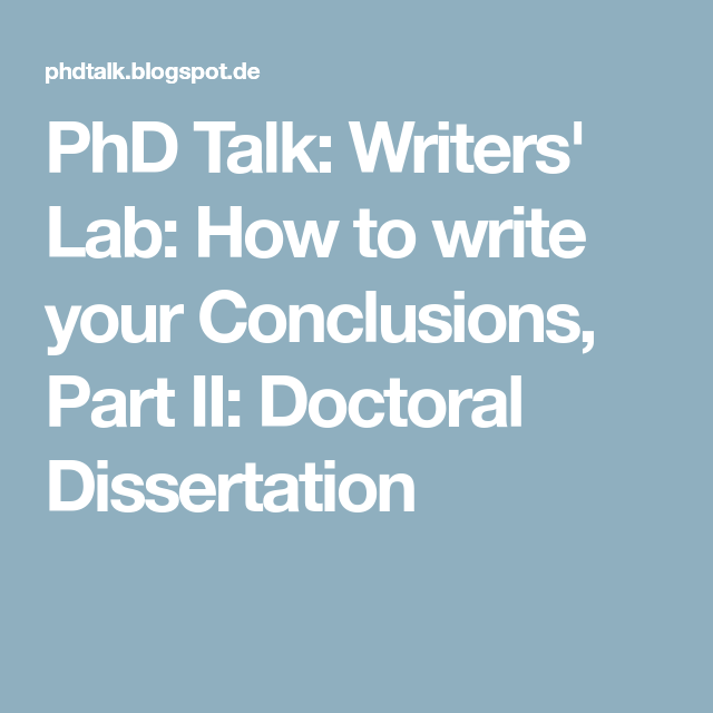 How to write a phd conclusion