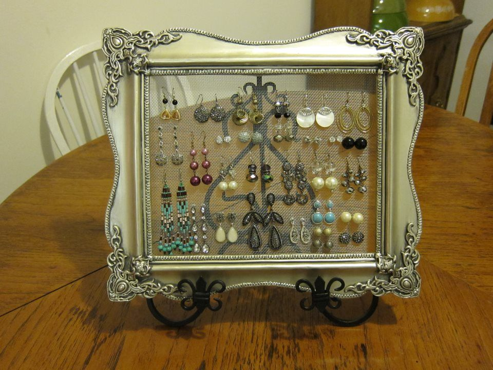 Picture Frame Earring Holder With Decorative Stand The Netting Is