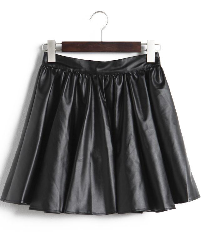 Falda polipiel plisado-Negro EUR€22.94