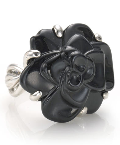 A carved black onyx rose Camélia ring, Chanel