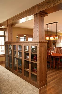 bookcase built in with craftsman pillars to keep it open to the next rh pinterest com Craftsman Style Furniture craftsman fireplace with bookshelves