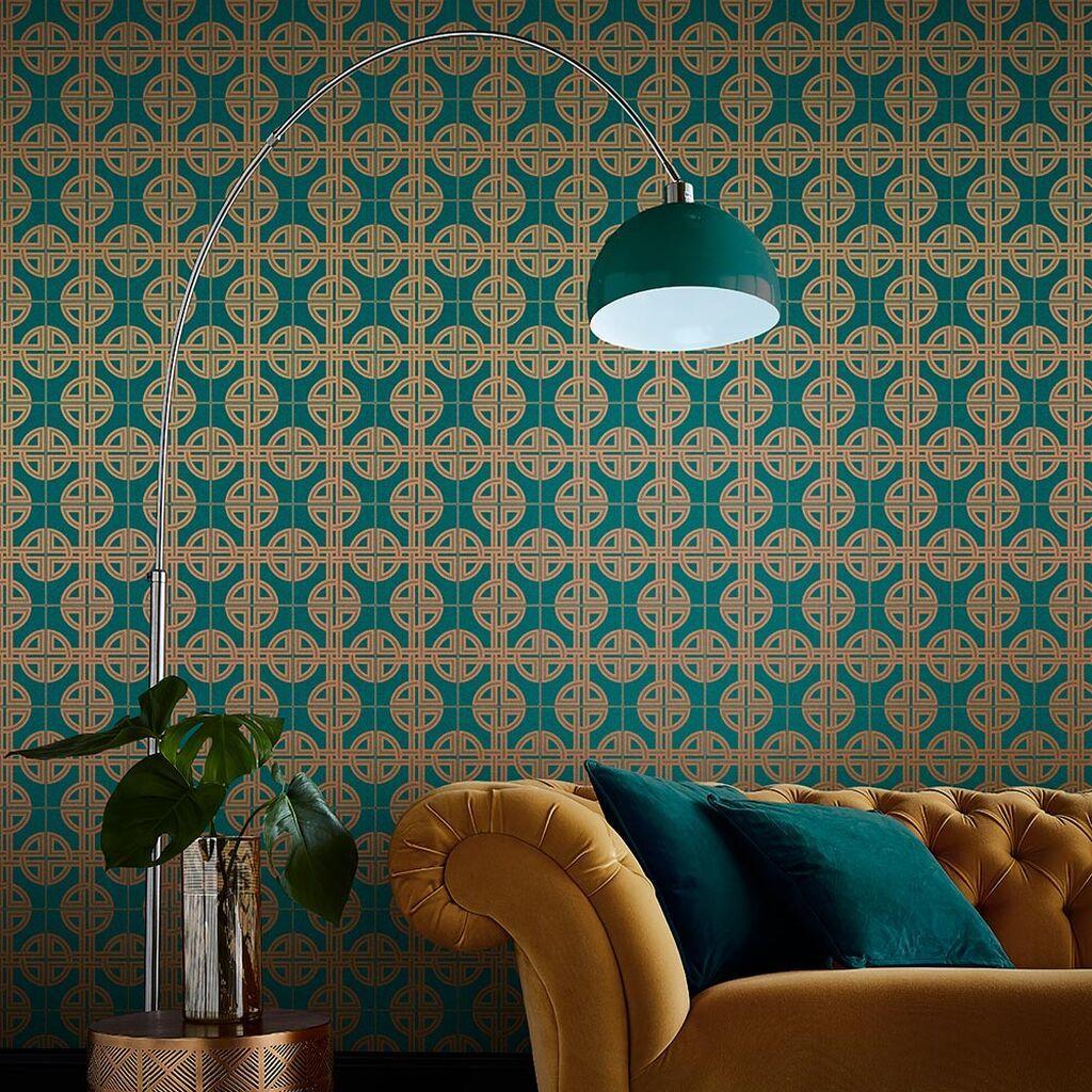 Asian Lattice Teal Wallpaper Blue Wallpaper Graham Brow