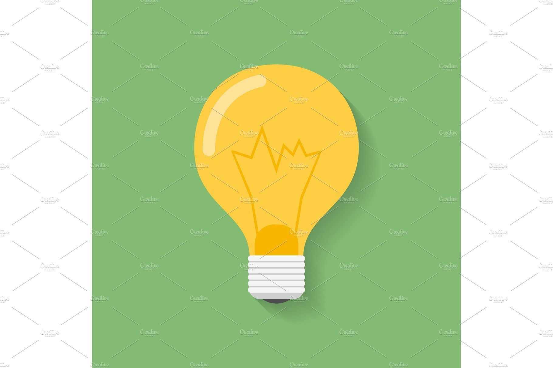 Icon Of Light Bulb Lamp Flat Style Lamp Bulb Symbol