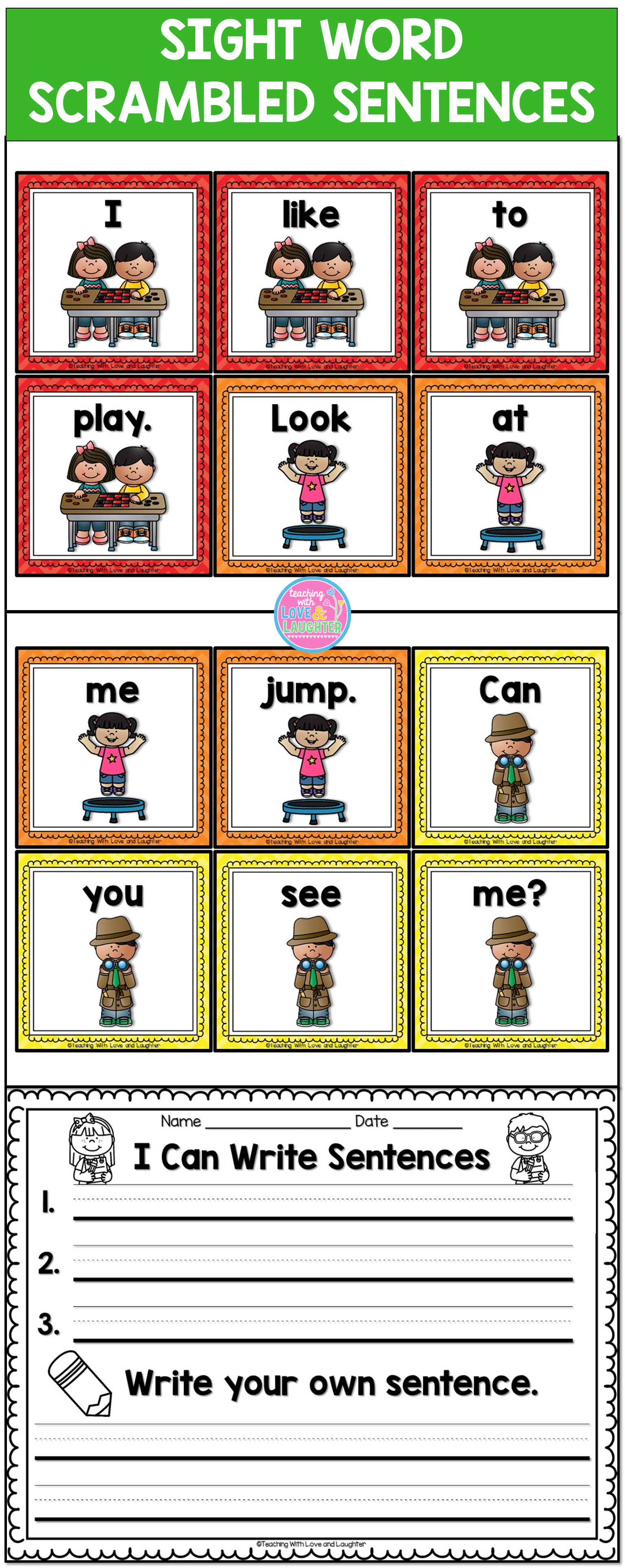 Students Put 4 Word Cards In Order To Make Sentences