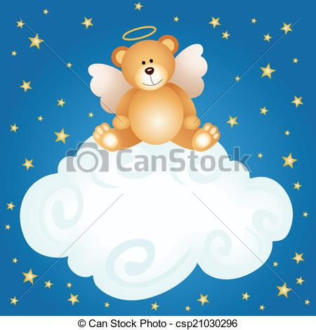 Vector - Teddy bear angel baby cloud backgro - stock illustration ...