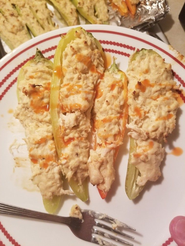 Buffalo Chicken Stuffed Banana Peppers Stuffed Banana Peppers Stuffed Peppers Cooking Recipes