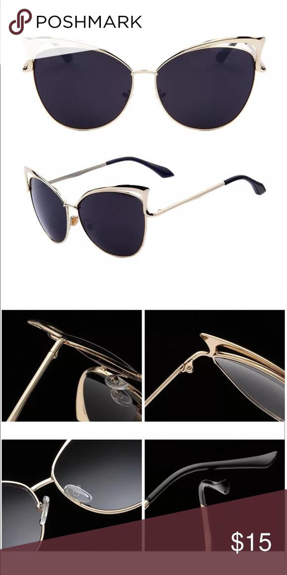Cat Eye Gold Frame with Black Lens Sunnies✨ Cat Eye gold frame with black lens Sunnies- NEW Accessories Sunglasses