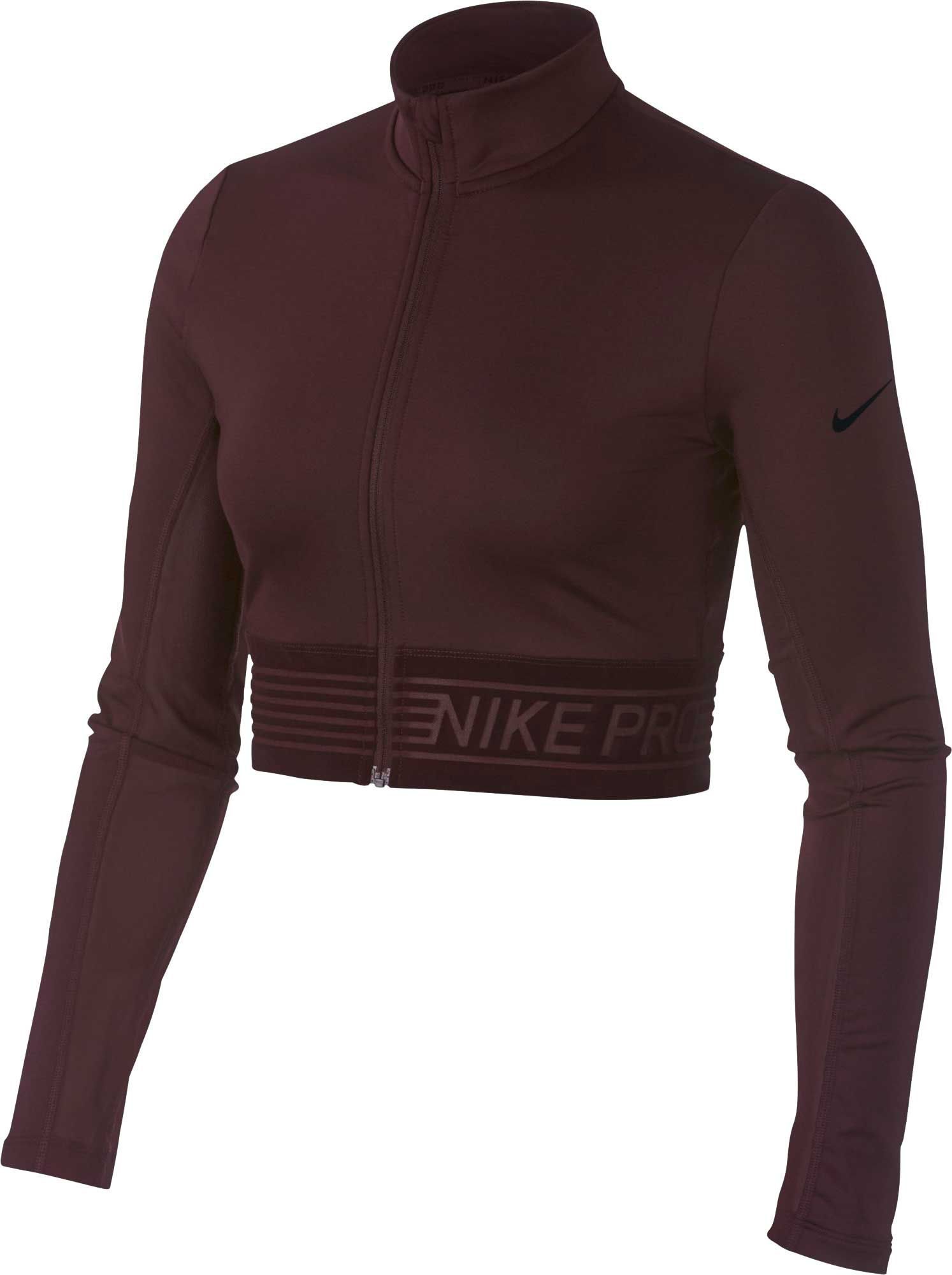 b6b517de54b00 Nike Women s Pro Long Sleeve Full-Zip Crop Top