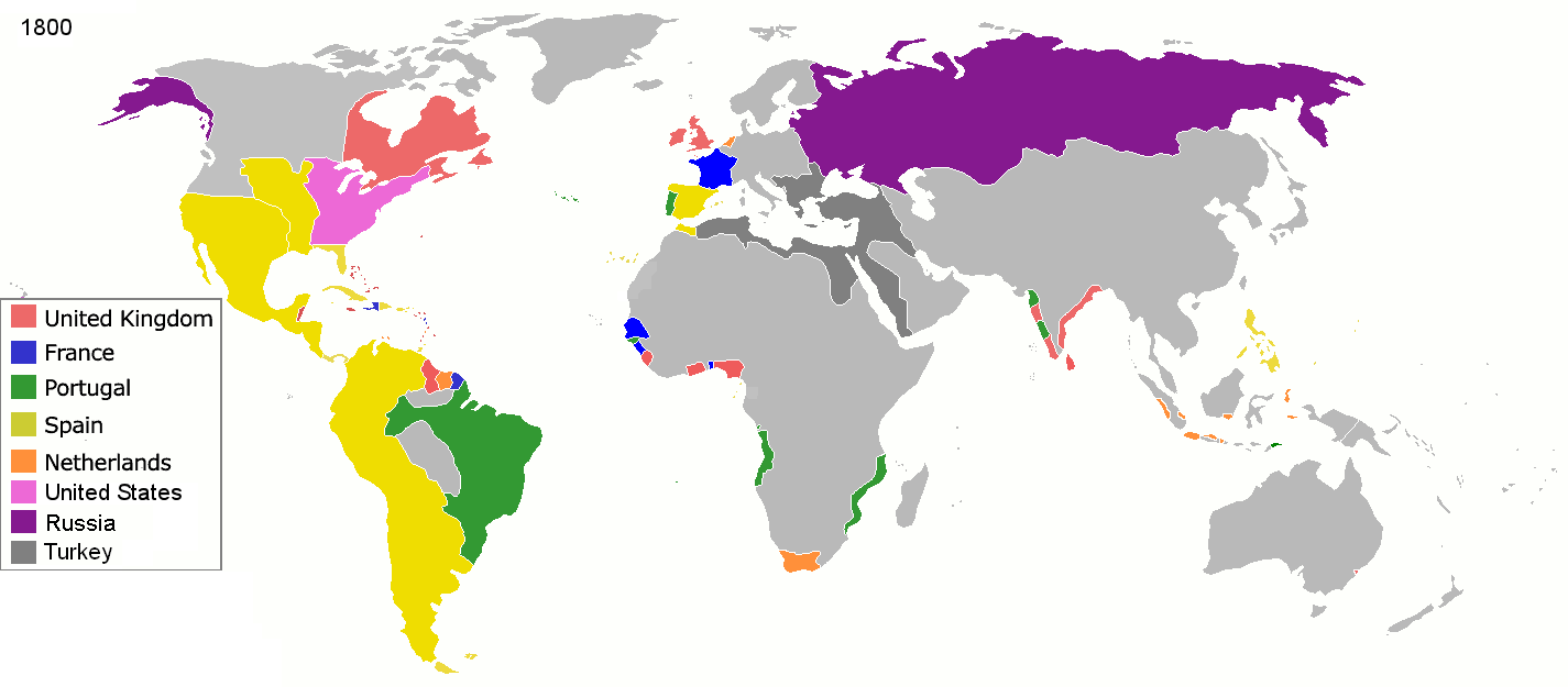Map of colonial empires throughout the world in 1800 | Maps ...