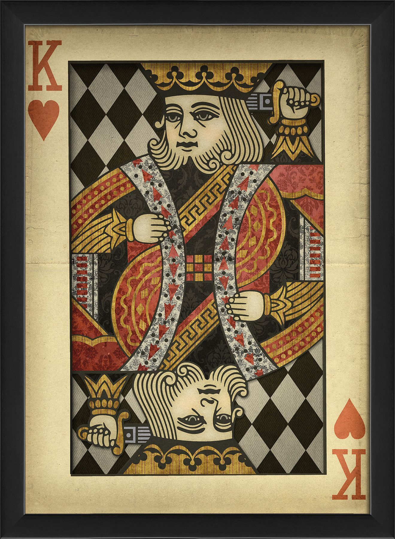 King of Hearts Harlequin Playing Card Framed Graphic Art | Pinterest ...
