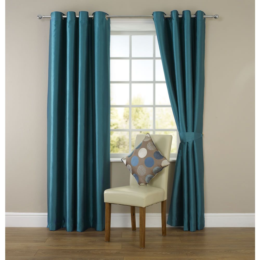 Wilko Faux Silk Eyelet Curtains Dark Teal For The Living Room During Winter Months