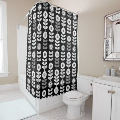 Stylish Modern Black And White Floral Shower Curtain Modern Shower Curtains Floral Shower Curtains Shower Curtain