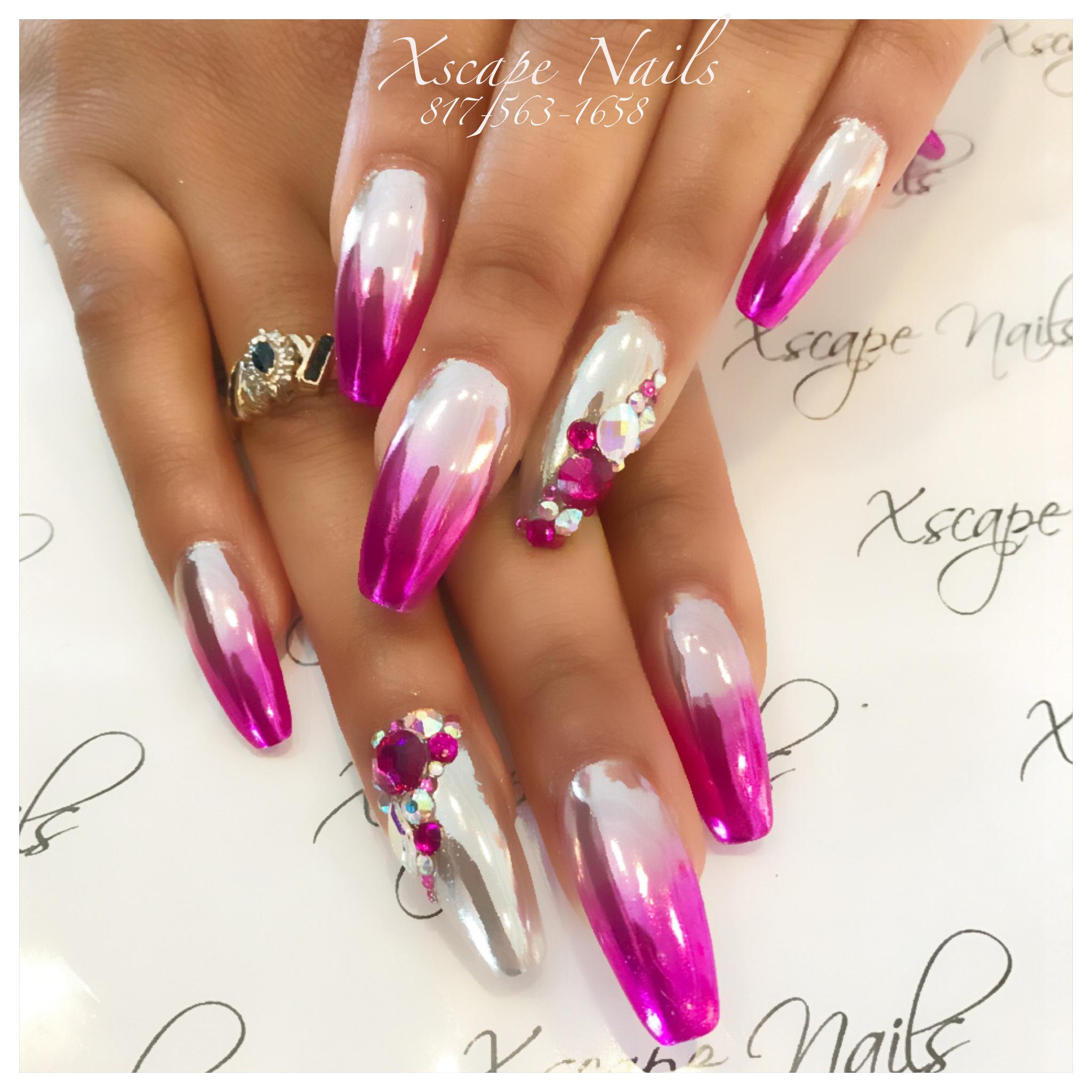 Blue glitter ombr 233 stiletto nails - Ombr Chrome Nails