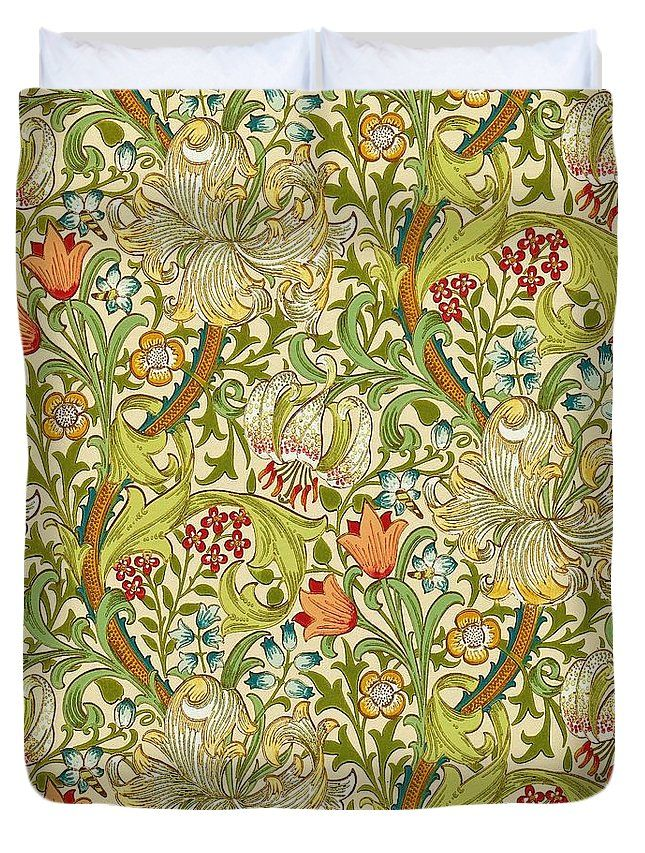 Golden Lily Duvet Cover For Sale By William Morris In 2021 Lily Wallpaper William Morris William Morris Designs