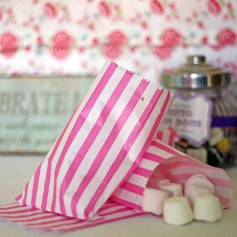 Candy Pink Striped Paper Bags For Sweets X 100