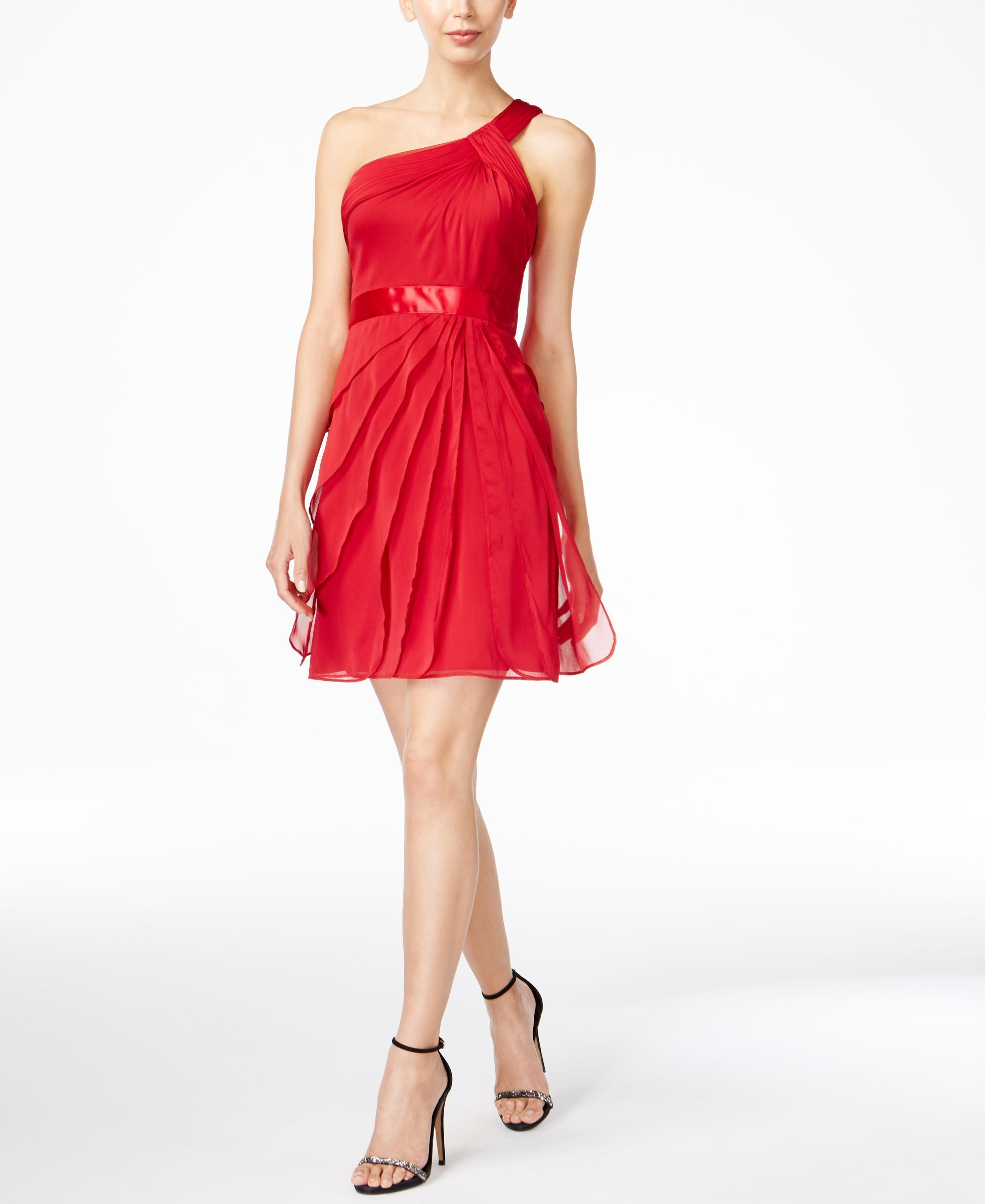 Adrianna papell oneshoulder tiered chiffon dress adrianna papell
