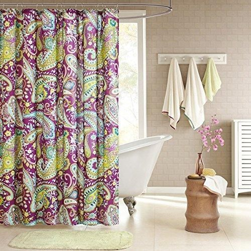1 Piece Girls Blue Yellow Green Purple Paisley Shower Curtain Beautiful Bohemian Bathroom Pattern Vibrant Colors Hippy Print Colorful Florals Themed