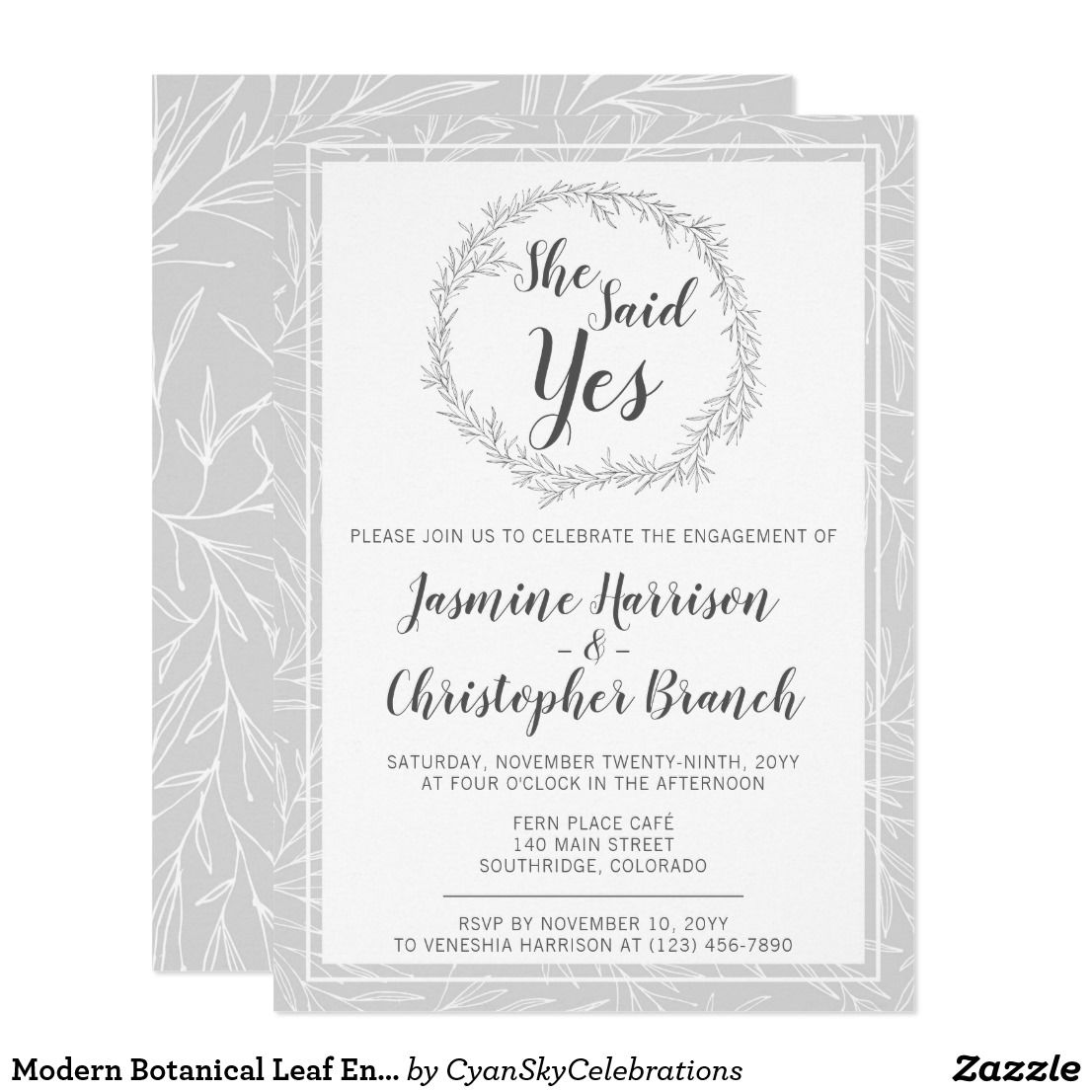 Modern Botanical Leaf Engagement Party Invitation | Silver Willow ...