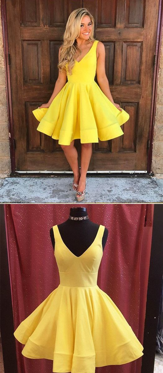 68c4c124f84 A-Line V-Neck Yellow Satin Short Homecoming Dress with Pleats ...