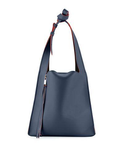 ELENA GHISELLINI Estia Small Leather Tote Bag, Navy ...