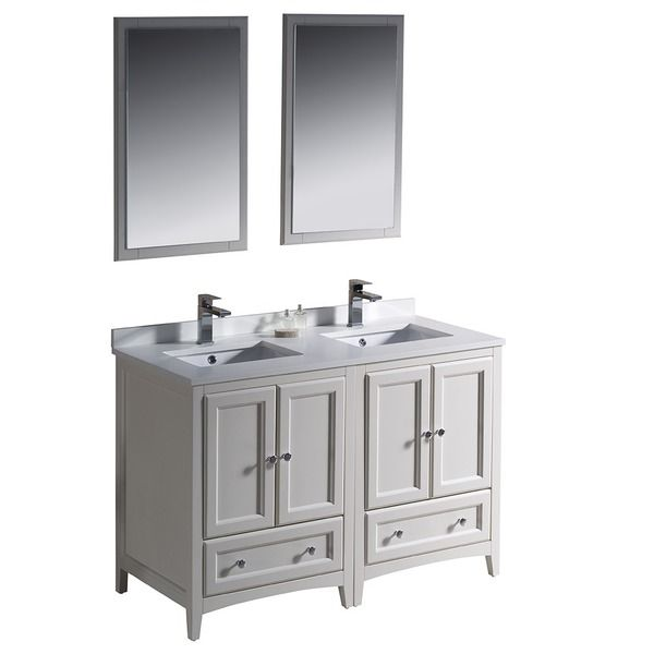 Fresca Oxford 48 Inch Antique White Traditional Double Sink