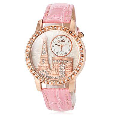 98fe7e94652  €8.04  Mulheres Quartzo Japanês Relógio Casual PU Banda Brilhante Torre  Eiffel Preta Branco Vermelho Marrom Rosa Roxa