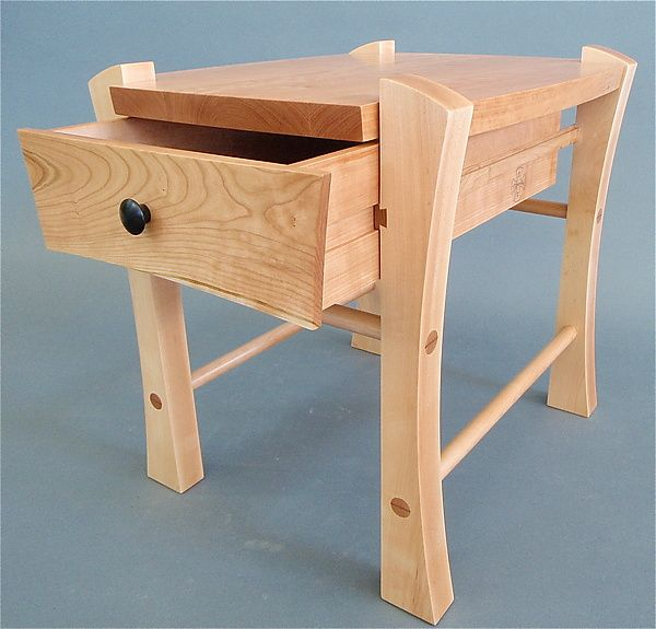 Single Drawer Bedside Table by Todd Bradlee (Wood Side Table