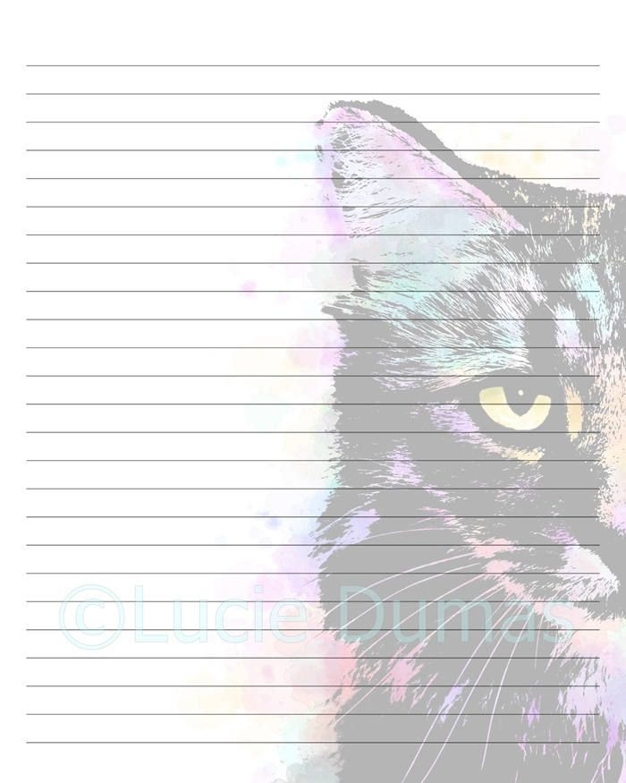 Digital Printable Journal Writing Lined Page Cat  Stationary