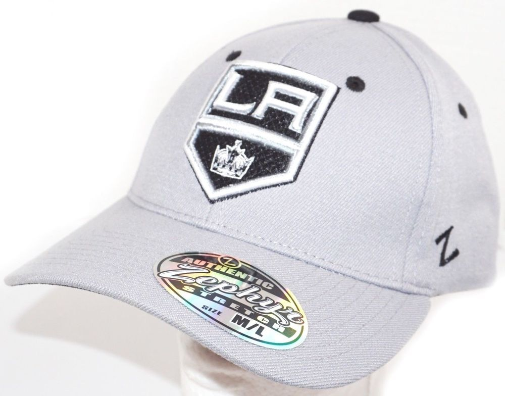 7a23ccc33 LOS ANGELES LA KINGS GREY HAT - NHL HOCKEY OEM ZEPHYR M L ADULT 7 1 8 - 7  3 8  Zephyr  LosAngelesKings
