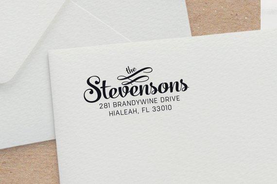 Bold Script Address Stamp With Ornaments Wedding Invitation