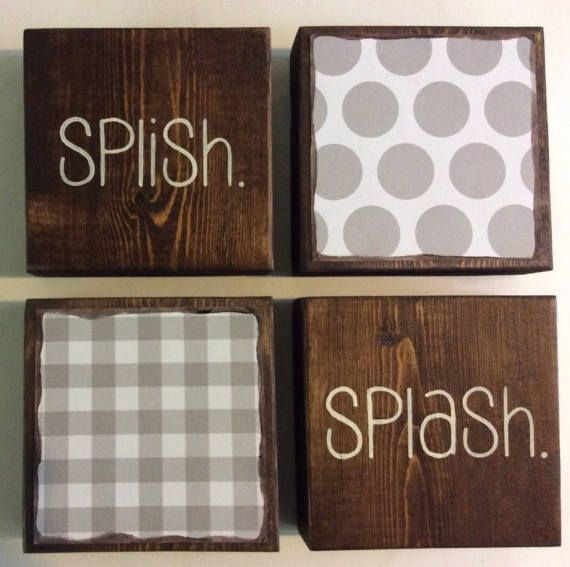 Set Of 4 Wood Blocks For Your Childs Bathroom Decor Wonderful Shower Or Baby Gift Each Block I Rustic Bathroom Wall Decor Wall Decor Bath Bathroom Wall Decor