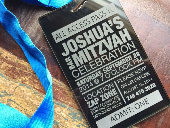 Vip Pass Bar Mitzvah Invitation Boy Birthday Party Invite Laser