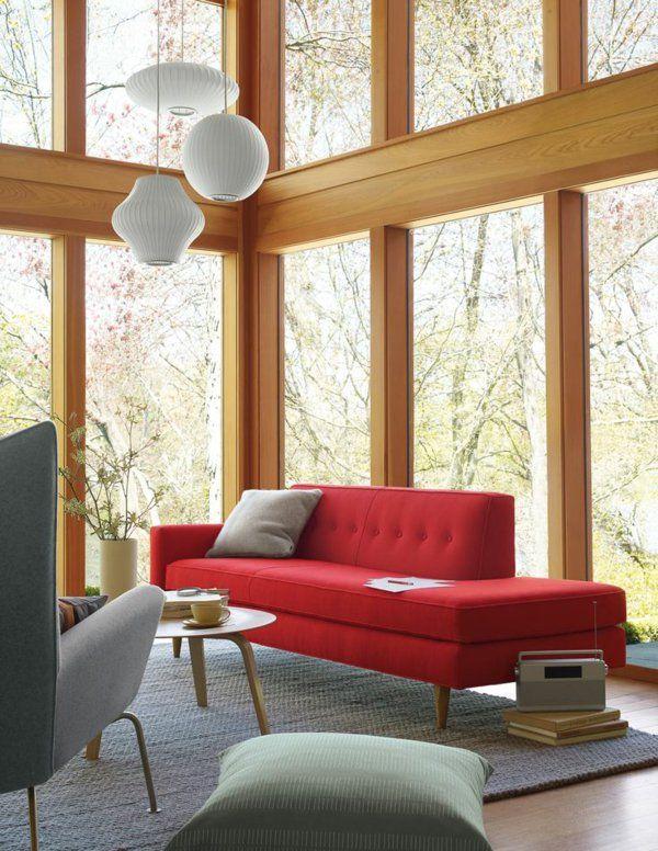 sofa Modern living room furniture red Populuxe Pinterest