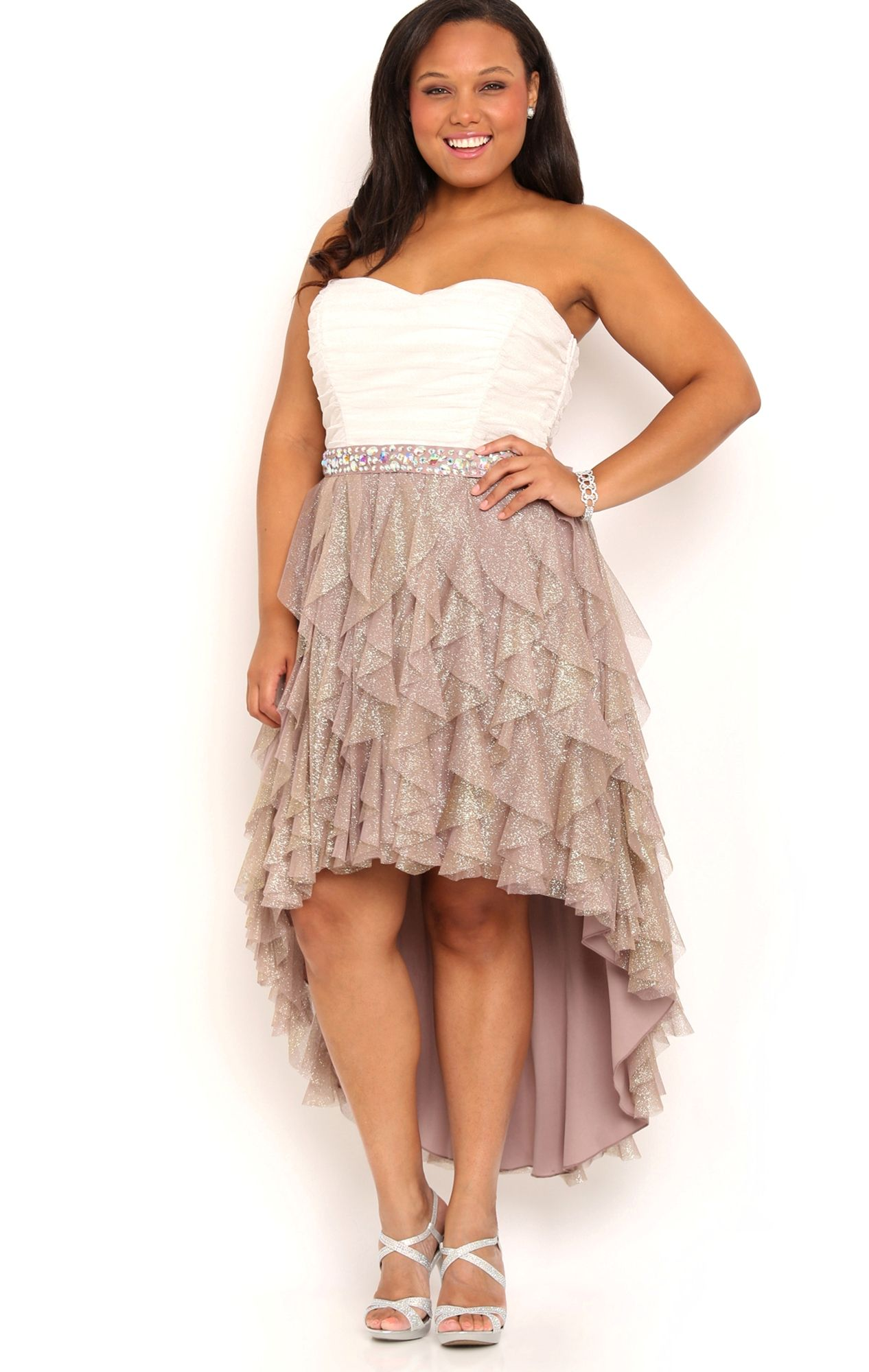Plus Size Two Tone High Low Homecoming Dress with Tendril Skirt ...