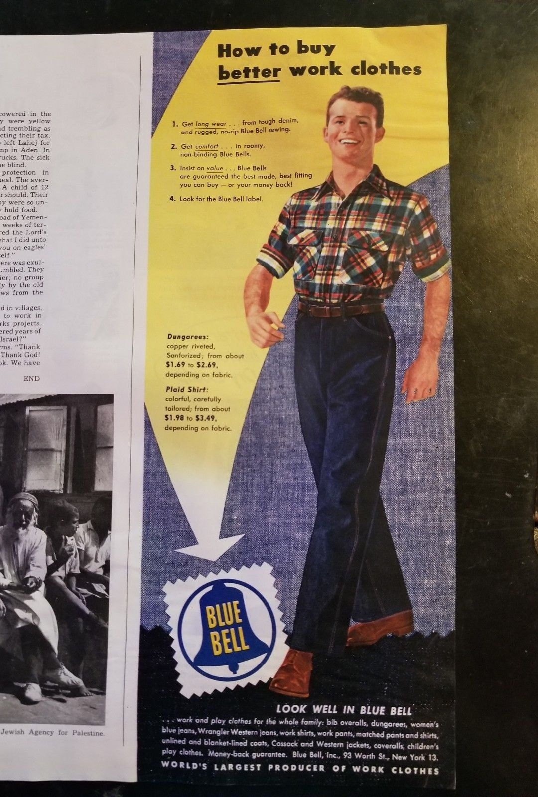 d273170ad Vintage Ad BLUE BELL advertisement Wrangler Dungarees 1949 | Retro ...