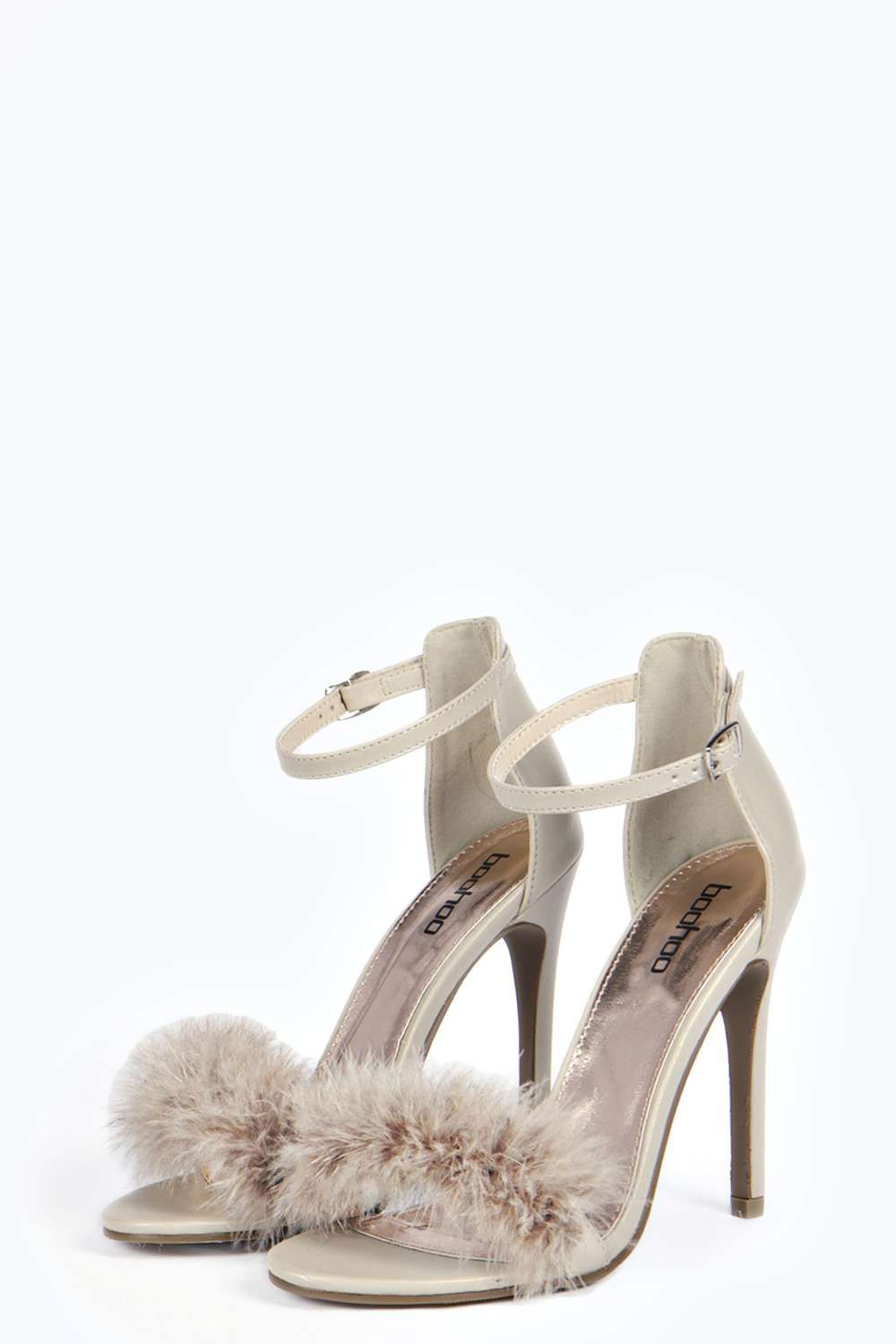 4921b582a861 Fifi Faux Fur Fluffy Barely There Heels alternative image