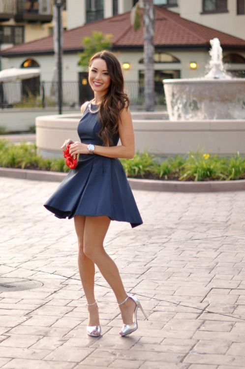 90f8aa6d3ed Street style princess in a short blue skater dress...