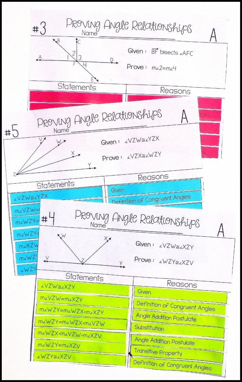 Geometric Proofs Worksheet With Answers Angle Relationships Proof Activity High School Geometry In 2020 Angle Relationships Geometry Proofs Geometry High School