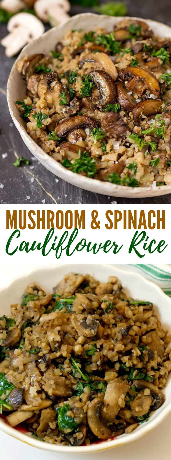 Photo of LOW CARB MUSHROOM & SPINACH CAULIFLOWER RICE #diet #thanksgiving