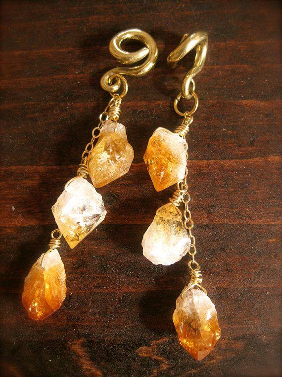 Orange Citrine Crystal and Gold 6 Gauge Plugs