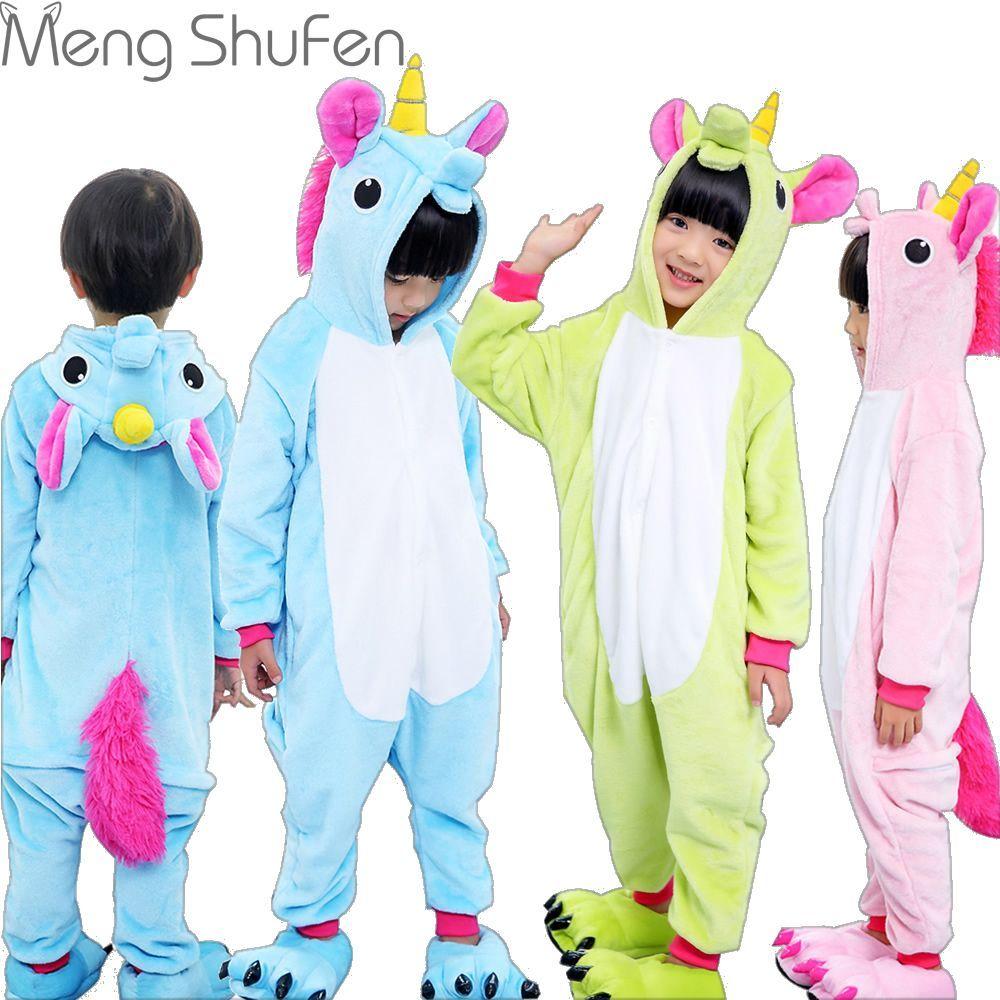 5dfa1189d065 Niñas Lindo Unicornio unicornio Pijamas Homewear caliente Otoño Invierno  pijamas de Los Niños Animal de la historieta pijamas para Niños niño Ropa  de Dormir ...