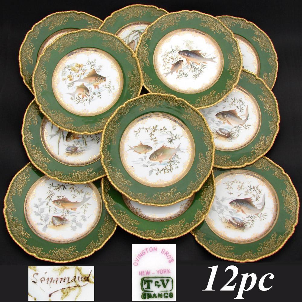 Superb Antique Limoges 12pc 9  Fish Plate Set Green u0026 Raised Gold Enamel Borders & Superb Antique Limoges 12pc 9