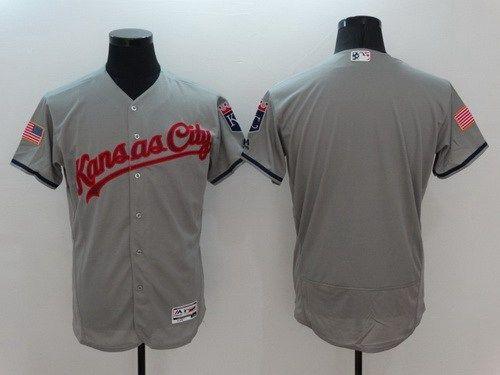 2016 MLB FLEXBASE Kansas City Royals Blank Grey Jersey
