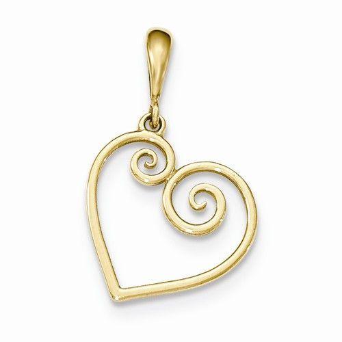 14k Yellow Gold Heart Charm Pendant