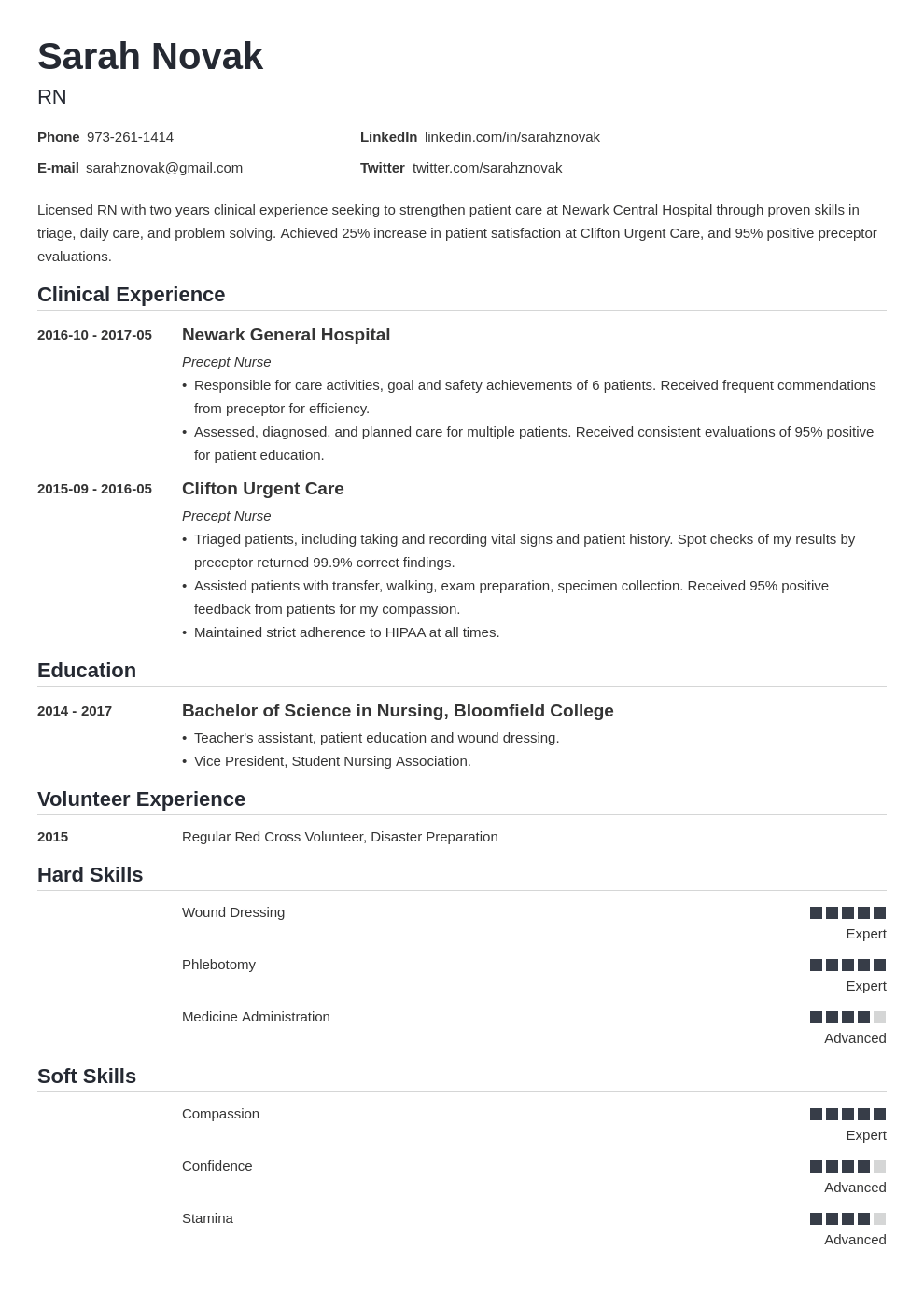 nursing student resume example template nanica in 2020