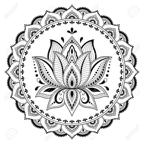 Mandala Coloring Pages Lotus Art Colorful Tattoo Mehndi