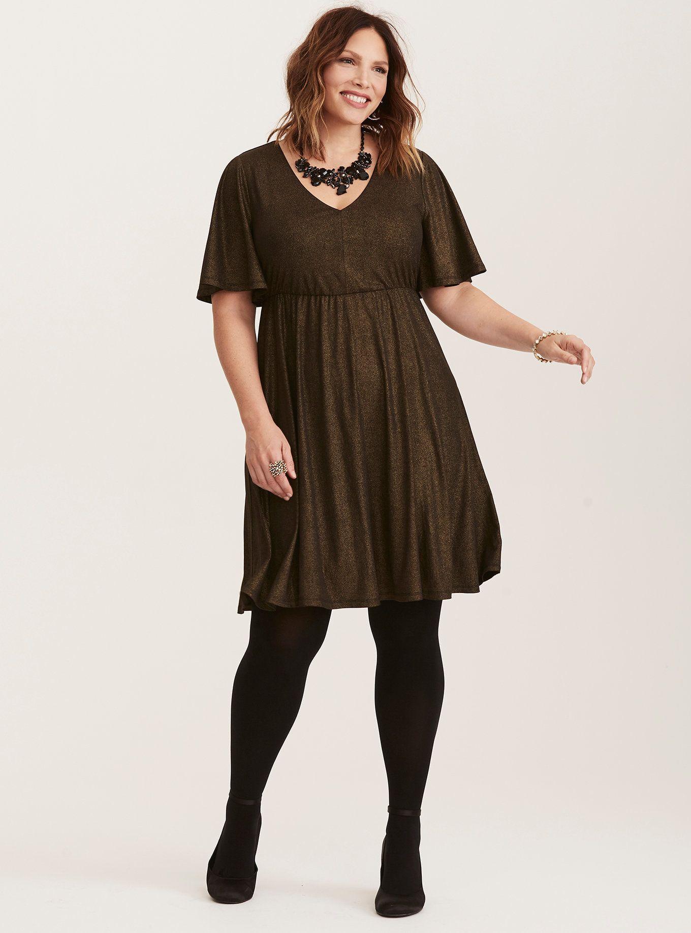 Gold Shimmer VNeck Skater Dress (With images) Plus size