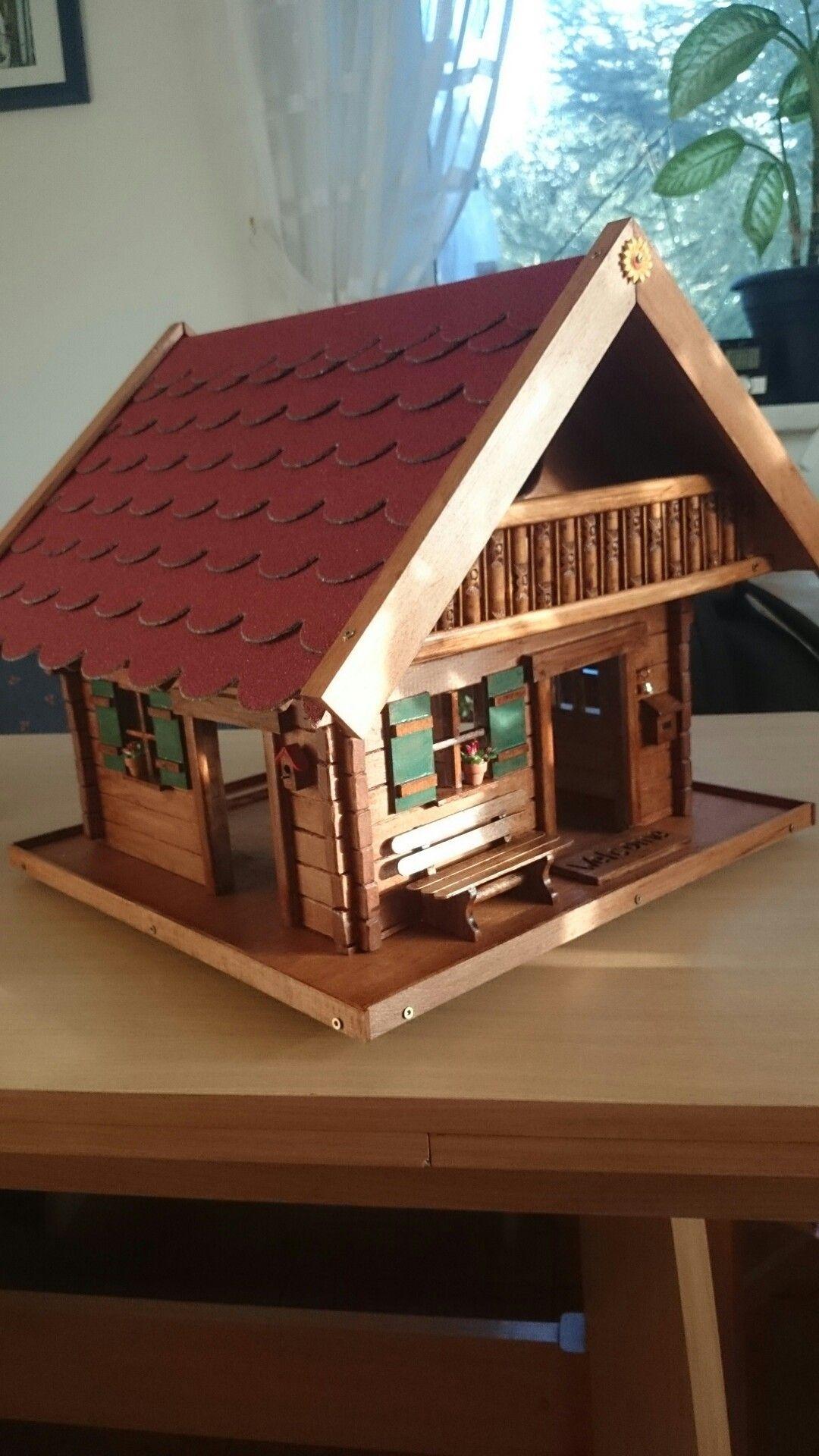 blockhaus vogelfutterhaus mit nistplatz | birds house & feeder